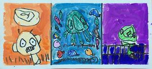 三幅外星人在草原海洋平原-宝贝计画幼儿画画美术作品