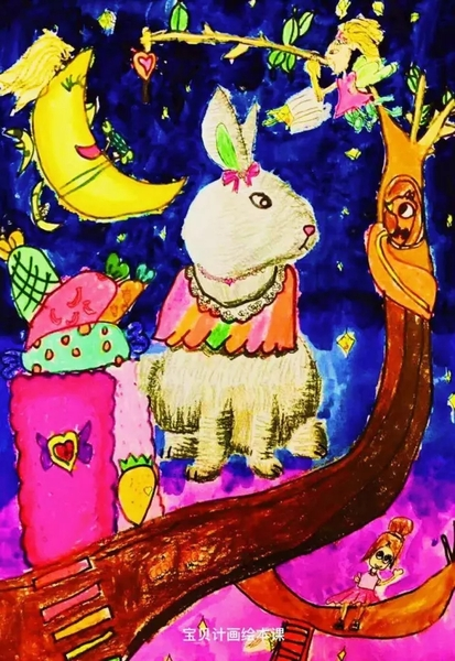 兔子+月亮+美女