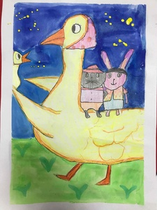 鸭妈妈带着兔宝宝找到了小鸡-宝贝计画少儿绘画美术作品
