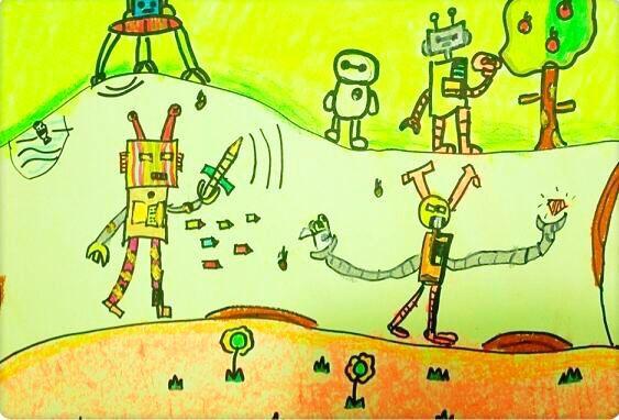 机器人挖地道-少儿美术绘画学员作品