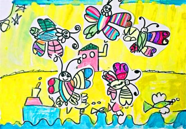 蝴蝶儿童美术画画图片-宝贝计画学员画作