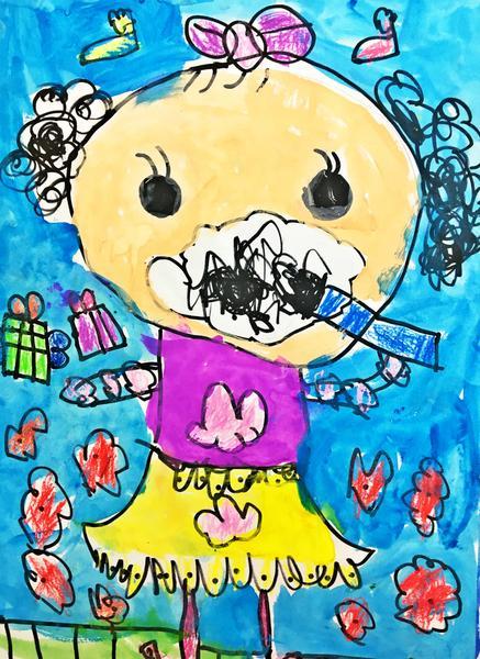 可爱,小脸蛋上都是牙膏的泡泡沫,身穿漂亮的衣服,两只眼睛炯炯有神